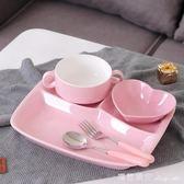陶瓷分格餐盤兒童餐具早餐盤套裝家用三格分隔盤西餐盤子成人飯盤 瑪麗蓮安