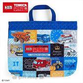 〔小禮堂〕TOMICA小汽車 橫式菱格紋厚棉手提袋《藍》補習袋.書袋 4901610-21974