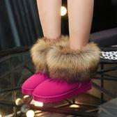 短靴毛毛加絨刷毛雪地靴女17新品短筒學生冬季短靴子加厚平底防滑保暖棉鞋