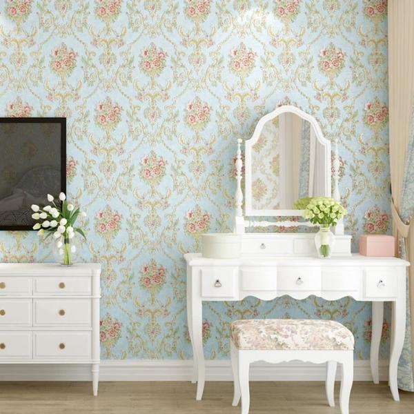 墻紙 歐式田園3D自粘墻紙溫馨臥室裝飾貼紙客廳立體電視背景墻房間壁紙 夏季上新