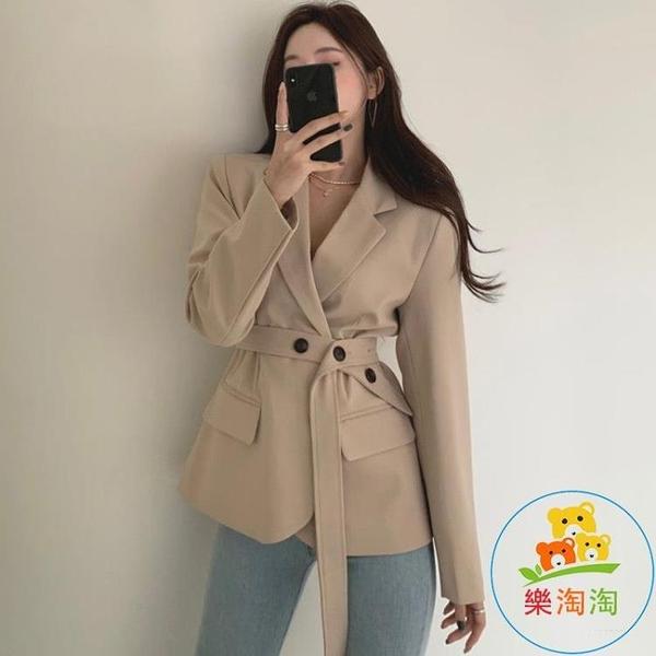 長袖西裝短外套配腰帶女韓國法式翻領單排扣設計修身收腰 樂淘淘