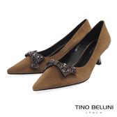 Tino Bellini綺麗鑽飾蝴蝶結酒杯跟鞋_深駝 TF8586