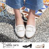 低跟鞋 大方土司粗跟鞋。Bubble Nara波波娜拉。樂福型包覆鞋版,氣墊底足弓支撐DA30418