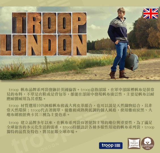 "TROOP 英國 帆布包 簡約質感HERITAGE電腦斜背包14"" 黑色 筆電包-2色/TRP0305"
