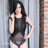 華麗風尚‧法式蕾絲透明薄襯連身睡衣款(黑色) S~XL  Choco Shop