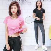(超夯免運)夏季新款跑步速幹T恤健身房運動上衣女短袖顯瘦瑜伽服性感緊身衣開