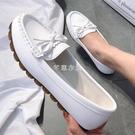 豆豆鞋女2021春季新款平底單鞋牛筋軟底懶人一腳蹬媽媽白色護士鞋 快速出貨