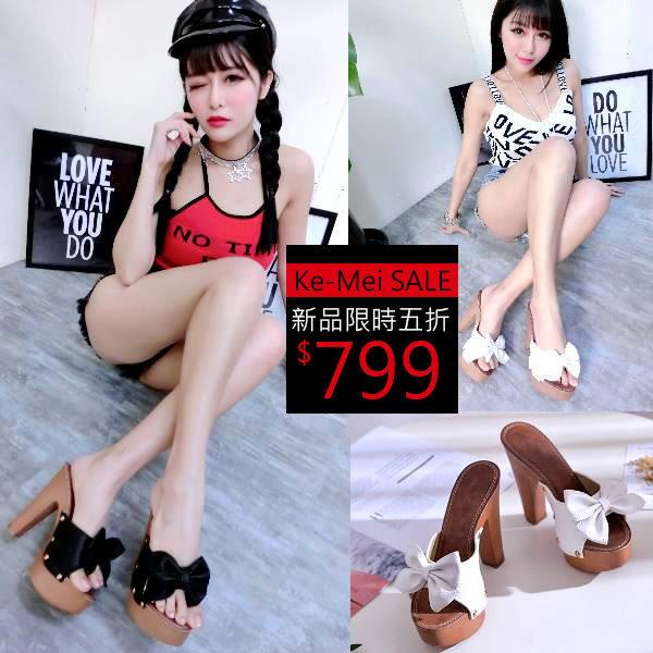克妹Ke-Mei【AT50973】歐洲站 氣質名媛蝴蝶結皮質側釘釦露指高跟鞋