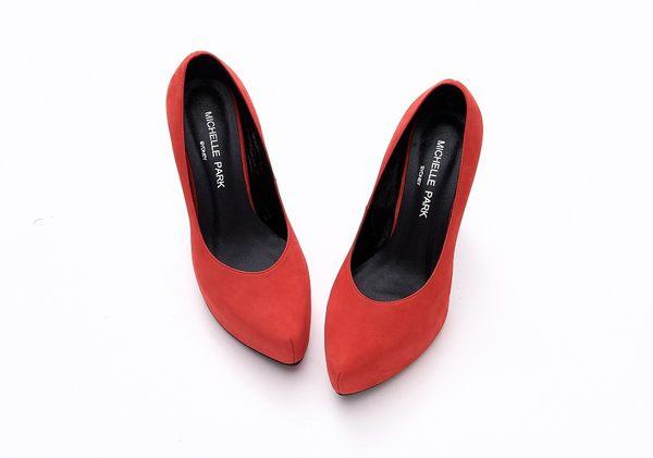 MICHELLE PARK 高質感細緻羊皮防水底台細高跟鞋-紅