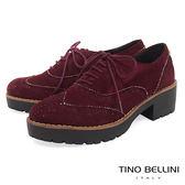 Tino Bellini 英倫學院厚底中跟牛津鞋_ 酒紅  A79048 網路限定款