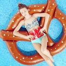 游泳圈充氣-麵包造型加厚三人水上活動坐騎浮板73ez1【時尚巴黎】