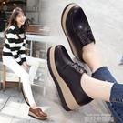 秋季新款英倫風圓頭鬆糕鞋單鞋女坡跟布洛克增高女鞋休閒鞋女 依凡卡時尚