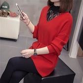 長袖針織秋季新款大碼女裝假兩件蕾絲拼接針織毛衣寬松收腰顯瘦長袖.4F072.9075皇潮天下