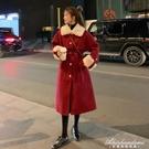 氣質中長款赫本收腰毛毛領呢子大衣2020冬季加厚紅色毛呢外套女裝 黛尼時尚精品