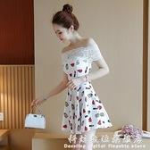 酒吧蹦迪衣服女氣質裙子新款2020夜性感店女裝小個子一字肩洋裝  科炫數位