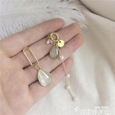 S925銀針 韓版氣質亞克力水晶鋯石珍珠耳釘細鏈別致不對稱耳環472 新年禮物