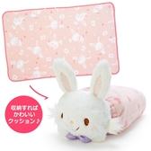 小禮堂 許願兔 造型可收納毛毯披肩 單人毯 薄毯 靠枕 70x110cm (粉白 2020冬日特輯) 4550337-97741