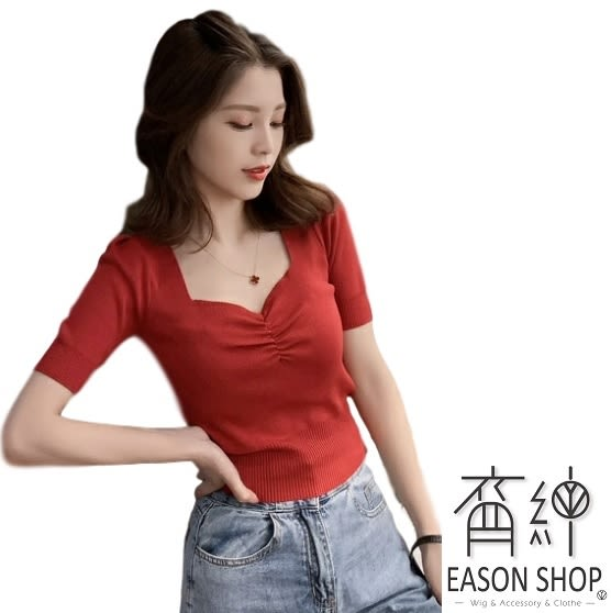 EASON SHOP(GW2559)韓版純色胸前小抓皺短版露肚臍方領短袖針織衫女上衣服彈力貼身內搭衫修身顯瘦