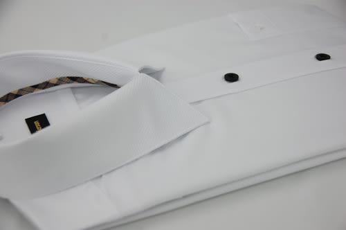 【金‧安德森】經典格紋繞領白色細斜紋窄版短袖襯衫