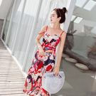 沙灘裙海邊度假風夏女2018新韓版高腰印花吊帶裙中長款顯瘦 XY1188  【男人與流行】