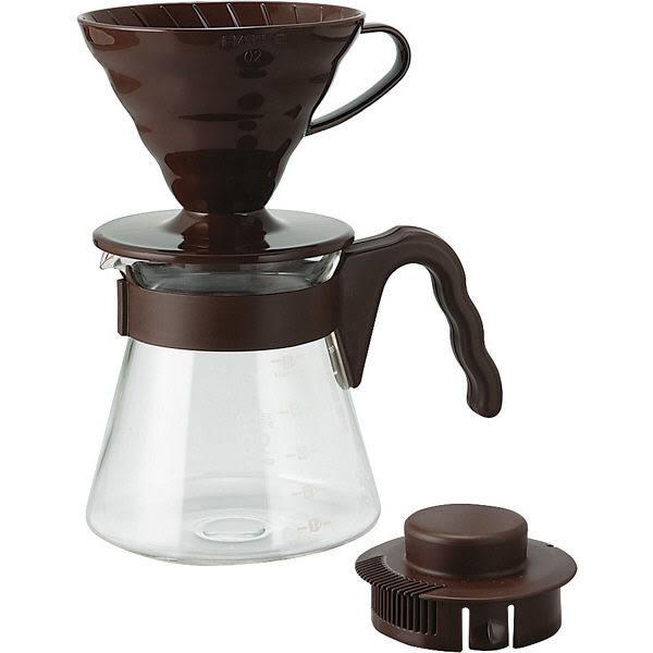 HARIO 日本製 V60手沖咖啡套組 700ML (附咖排粉匙,40張咖啡濾紙) 約1~4杯