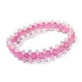 粉紅貓眼圓珠與水晶角珠彈性手環