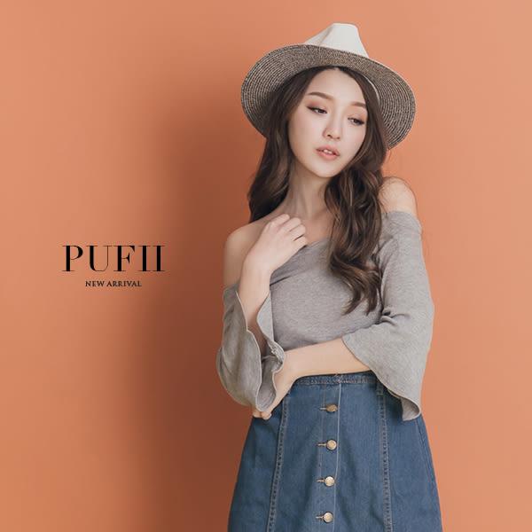 (現貨)PUFII-針織上衣 露肩一字領花邊荷葉袖針織上衣 3色-0308 現+預 春【CP14202】