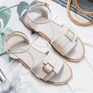 涼鞋 涼鞋女仙女風ins潮2021年新款夏百搭皮帶扣網紅軟底防滑舒適平底 618購物節