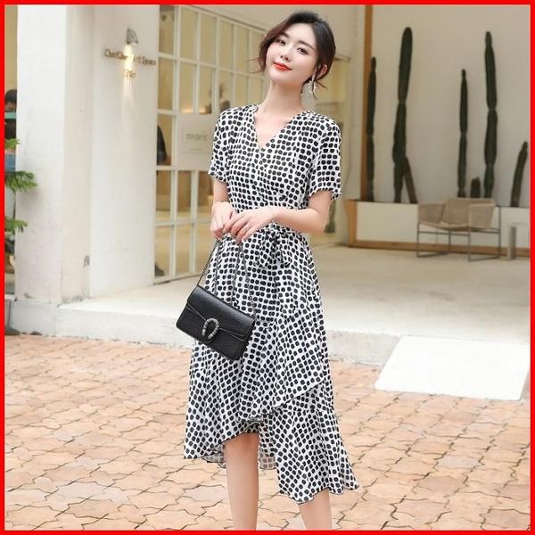 韓國風短袖洋裝 輕熟風波點雪紡連衣裙綁帶收腰顯瘦氣質女神連身裙 依多多