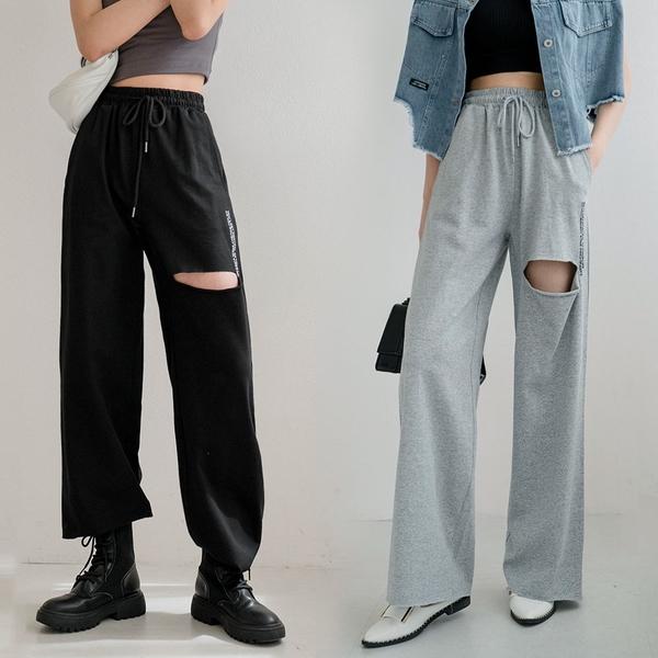 現貨-MIUSTAR 刺繡英字鬆緊腰抽繩割破造型棉質寬褲(共3色)【NJ1597】