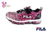 FILA 運動鞋 女童 大童 氣墊 針織 慢跑鞋O7646#黑粉◆OSOME奧森童鞋