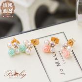 耳環 韓國直送鑲鑽珍珠切面玫瑰浮雕耳環-Ruby s露比午茶