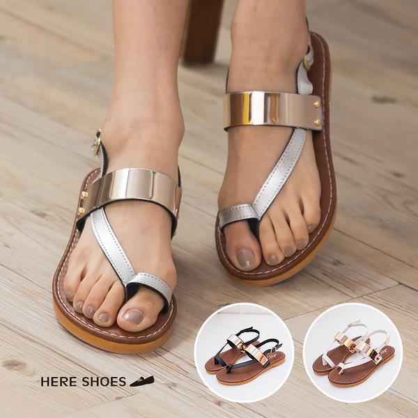 [Here Shoes]3色 皮革質感 金屬寬帶套趾涼鞋 後環扣超低跟粗跟涼鞋 個性女孩必備 ◆MIT台灣製─KT2400