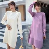漂亮小媽咪 針織裙 【DB5512】韓系 細緻針織 V領 親膚棉感 高質感 彈力 毛衣裙 孕婦裝 針織洋裝