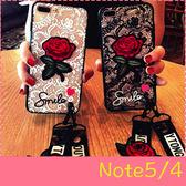 【萌萌噠】三星 Galaxy Note5 / Note4 日韓大氣女款 蕾絲刺繡玫瑰花保護殼 全包防摔軟殼 贈玫瑰掛繩