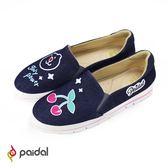 Paidal girly power深藍牛仔單寧加厚休閒鞋-紅鼻熊&甜櫻桃
