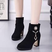 2018新款馬丁靴女英倫風冬季高跟短靴韓版百搭黑色粗跟媽媽棉鞋女