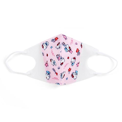 Sanrio 立體三層不織布拋棄式口罩 10入 兒童口罩 HELLO KITTY 糖果 粉白_043168
