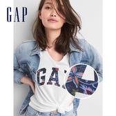 Gap女裝 LOGO舒適純棉V領短袖T恤 215885-恬靜羽白色