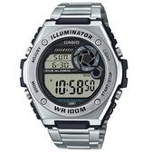 CASIO 卡西歐 手錶 專賣店 MWD-100HD-1A 數字電子錶 男錶 不鏽鋼錶帶 防水100米 LED照明 MWD-100HD