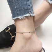 全館83折 飾悟S925純銀腳?女簡約細款雙層圓珠足飾腳飾韓版個性女生日禮物