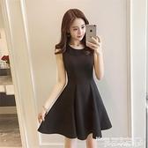 小禮服 2021新款赫本小黑裙夏季女裝百搭禮服高腰連身裙小清新顯瘦背帶裙 曼慕