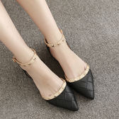 黑色/36 淺口中空平跟單鞋 尖頭平底鞋 腳環綁帶休閒鞋【多多鞋包店】C0200