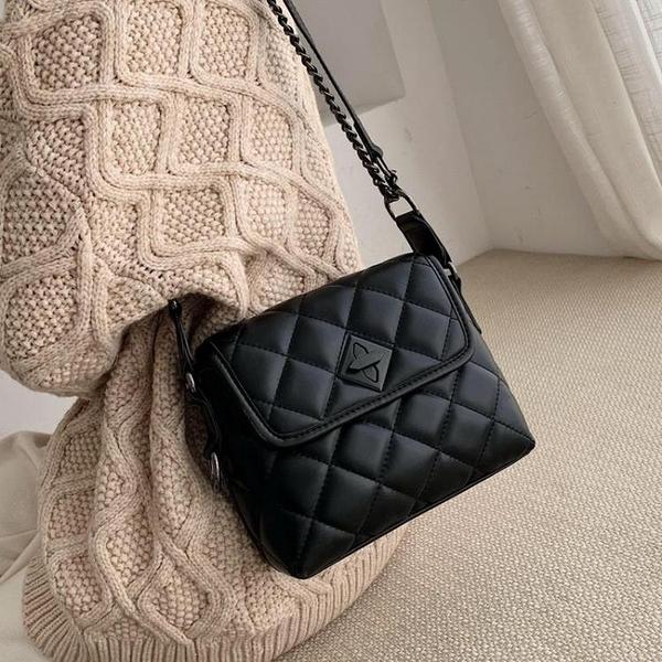 側背包春夏洋氣質感包包女新款韓版時尚菱格百搭錬條單肩斜挎小方包