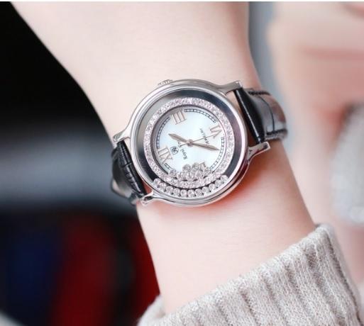 義大利Royal Crown 羅亞克朗- 小牛皮鑲崁鋯石鑽幸運轉盤腕錶 RC女錶 情侶錶對錶 手鍊錶