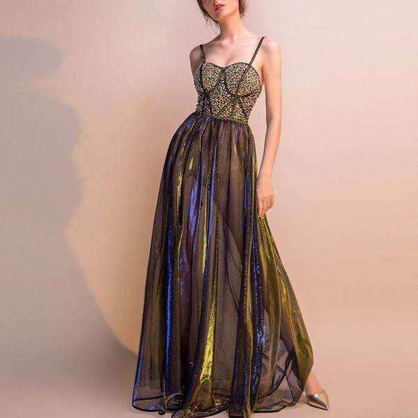 禮服洋裝 性感透視裝網紗蕾絲深V領亮色蓬蓬少女性感禮服 女 糖果時尚