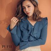 (現貨)PUFII-針織上衣 波浪荷葉V領喇叭袖針織上衣 3色-0920 現+預 秋【CP15176】