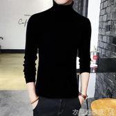 毛衣男士修身韓版高領毛衣兩翻領素色打底衫緊身針織線衫加絨加厚男裝 衣間迷你屋
