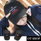 OT SHOP帽子‧搞笑文字 棒球帽 老帽 鴨舌帽‧韓版棉質‧翻玩街頭穿搭配件‧現貨黑色NC1967