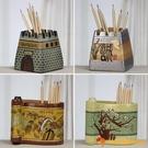 手工雕刻筆筒古風擺件手繪藝術中國風筆筒學生教師禮物【小獅子】